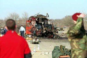 Терористички напад на аутобус Ниш-експреса у месту Ливадице код Подујева, 16. фебруара 2001 године. Погинуло је 6 Срба а повређено 43. Међу погинулима су и двогодишњи Данило Цокић његова мајка Снежана и отац Небојша.