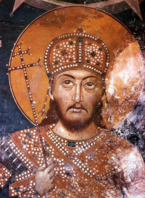 Цар Душан, фреска, манастир Лесново